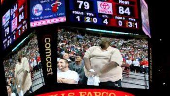 Fat Sixers Fan Dancing On Jumbotron