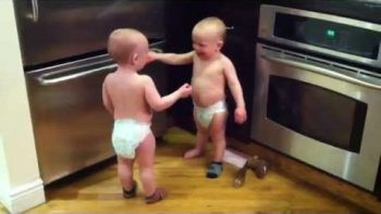 Twin Babies Have Baby Talk Conversation