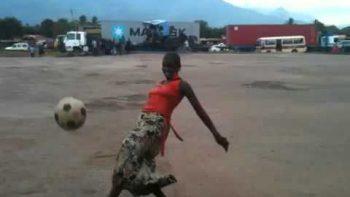 Tanzanian Woman Shows Off Soccer Skills