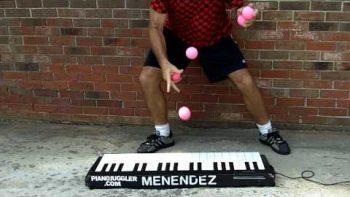 Juggler Plays Piano With Balls