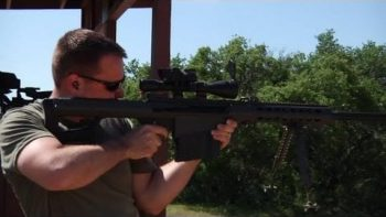 Army Ranger Hits Target 1000 Yards Away With .50 Caliber Rifle Standing Up
