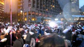 Huge Pillow Fight In San Francisco