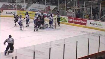 Hockey Ref Crashes Into Goal Post