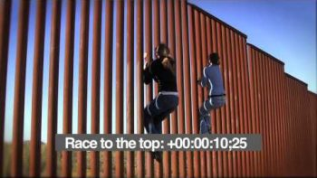 Two Girls Climb US Border Fence