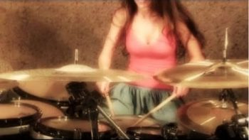 Cute Girl Playing Drums Parabola By Tool