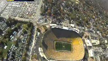 Soldier Parachutes Football Into Michigan Stadium, Michigan VS MSU