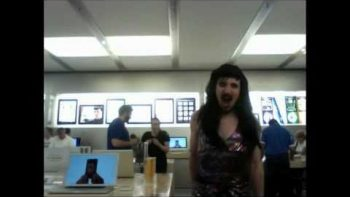Man Dressed In Wig And Dress Lip Sync Katy Perry FireWork At Apple Store