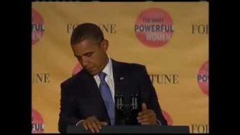 Obama's Presidential Seal Falls Off Podium During Speech Blooper