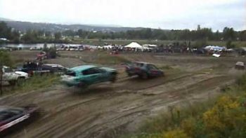 Rally Race Car Jumps Another Car On Dirt Road Race