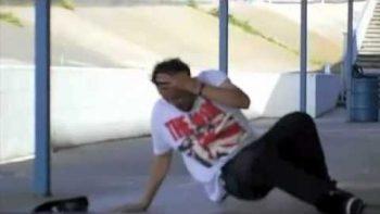 Guy Falls Off Skate Board, Skate Board Flies Up, Hits His Head