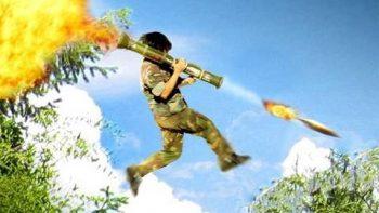 Amazing Rocket Jump In War Scene