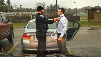 Police Officer Helps Speeding Student Tie His Tie