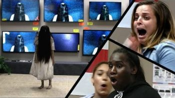 Rings TV Store Pranks Lets Samara Climb Out Of Real Televisions