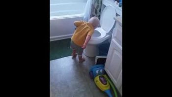 Toddler Impersonating Mother With Morning Sickness