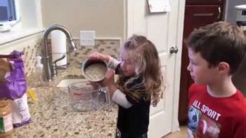 Little Girl's Cute Cooking Confusion