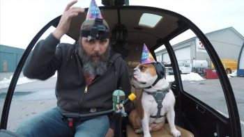 Helicopter Pilot Takes His Bulldog On Helicopter Ride For His Birthday