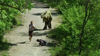 When You're Jogging And Run Into A Dinosaur