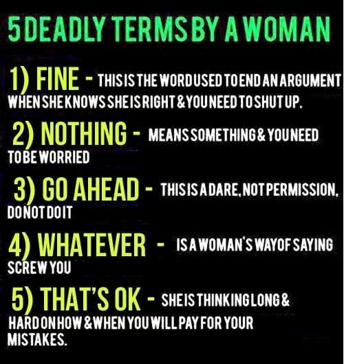5 deadly terms by women