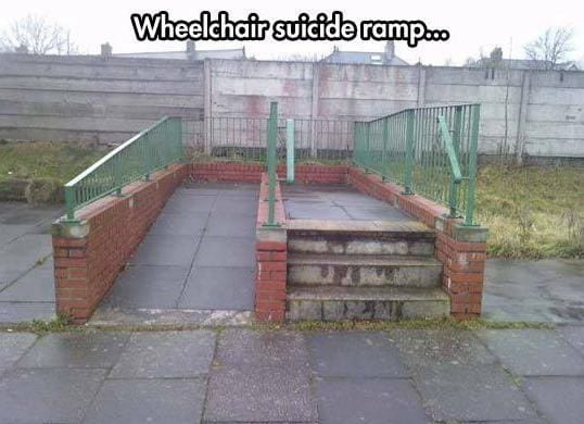 Wheelchair suicide ramp