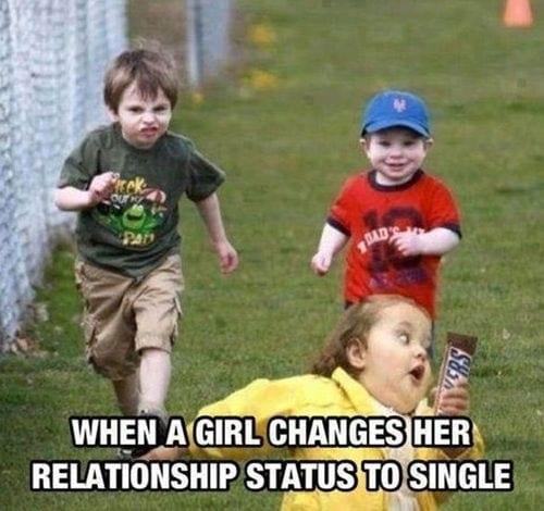When girls change relationship status to single