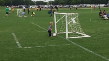 Toddler Practises Soccer Celebrations
