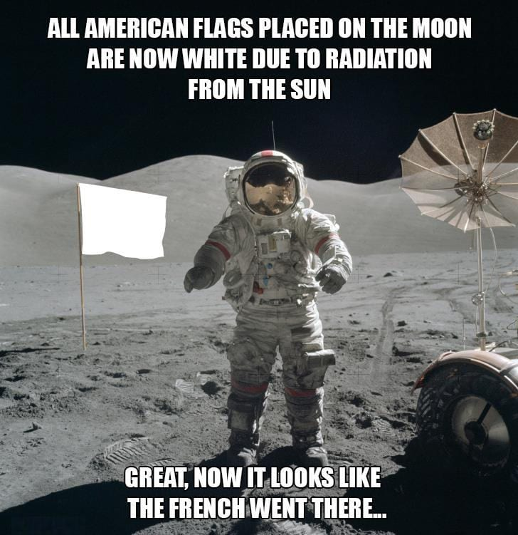American flags placed on the moon