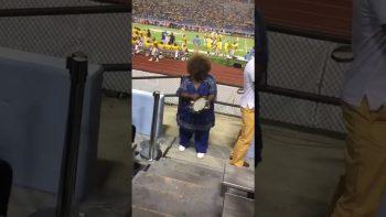 Grandma Shows Off Impressive Tambourine Skills At Football Game